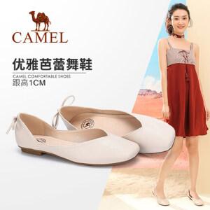Camel/骆驼女鞋 2018春季新款 舒适芭蕾鞋平底方头奶奶鞋 浅口女鞋单鞋女