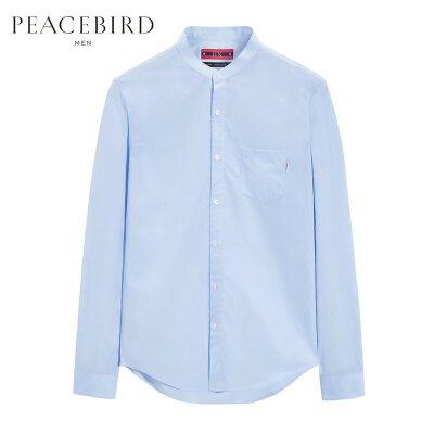 太平鸟男装 长袖衬衫男字母刺绣蓝色立领韩版休闲秋季男士衬衣 柔软素雅 立领设计