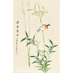 河南美术家协会会员许鲁四尺三开花鸟画gh04833