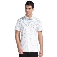 才子男装(TRIES)短袖衬衫 男士2017年新款简约几何时尚潮流休闲短袖衬衫