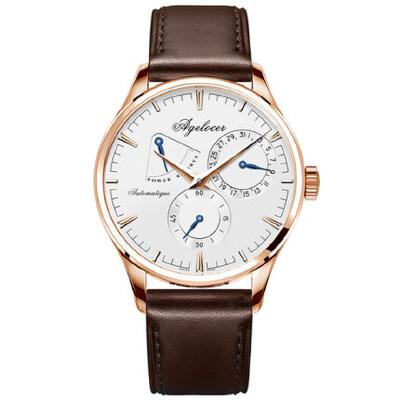 艾戈勒男表全自动机械表真皮 休闲腕表时尚潮流皮带男士手表1 支持七天无理由退换 零风险购