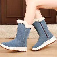 №【2019新款】冬天穿的雪地靴女羊皮毛一体中长筒厚底棉靴真皮加绒棉鞋