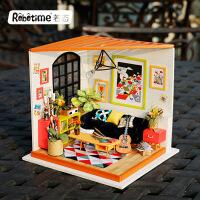 儿童玩具 若态diy小屋创意纯手工拼装模型3d立体拼图拼板卡斯的音乐客厅