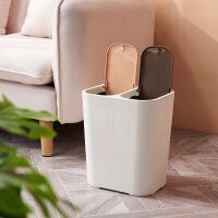 分类垃圾桶 家用18L双内桶带盖分类垃圾桶厨房垃圾箱按压式干湿分离收纳桶