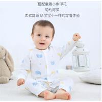 婴儿连体衣秋冬纯棉保暖夹棉哈衣宝宝加厚冬装睡衣新生儿衣服套装
