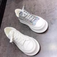 欧洲站ICan2019春季新款头层皮欧货系带厚底松糕鞋休闲运动鞋女