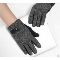 新款防寒保暖男士触屏手套 户外加绒加厚保暖防风骑车开车棉全指手套