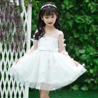 童装女童立体花瓣白色公主裙小礼服大童儿童女孩子粉色连衣裙