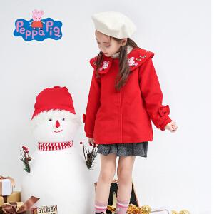 【3件3折到手价:107.7】小猪佩奇童装新年红款可爱佩奇绣花毛呢外套大衣加厚保暖