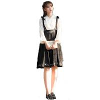 汉元素女秋装汉服女改良中国风刺绣连衣裙古风日常装裙子套装学生 2件套-上衣+(背带)下裙