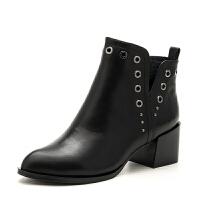 D:FUSE/迪芙斯简约时尚方跟舒适欧美牛皮女短靴DF73116057