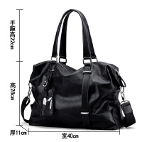 男包手提包大容量男士包包休闲斜跨包时尚单肩包男横款旅行包潮包 时尚黑色 面料柔软光滑