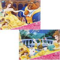 迪士尼拼图 美女与野兽二合一拼图儿童玩具(古部拼图公主女孩100片2708+200片2709)