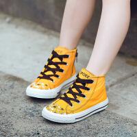 儿童帆布鞋学生百搭女童鞋子高帮板鞋