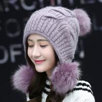 甜美毛帽女冬天休闲毛线帽子可爱大毛球文艺针织帽