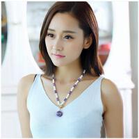 韩国气质时尚百搭挂件简约精致天然紫水晶琉璃果手工项链 女