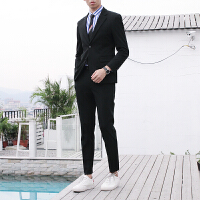 男士西装套装修身韩版英伦风休闲小西服外套婚礼服正装潮流 黑色 上衣加裤子