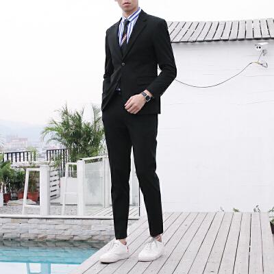 男士西装套装修身韩版英伦风休闲小西服外套婚礼服正装潮流 黑色 上衣加裤子 发货周期:一般在付款后2-90天左右发货,具体发货时间请以与客服协商的时间为准