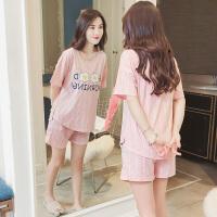 睡衣女夏季韩版清新学生夏天可爱鸡蛋短袖纯棉家居服两件套装宽松