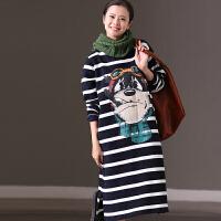 米可可  Q6331B 韩版宽条纹卡通印花宽松加绒圆领长款卫衣裙 冬