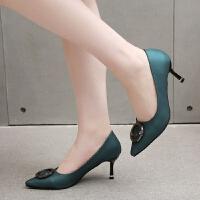 性感高跟鞋女细跟7厘米尖头单鞋19秋季新款女式宴会浅口韩版百搭