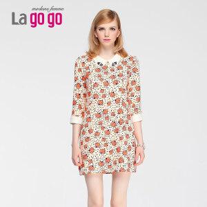 lagogo夏季新款印花A字裙子中长款七分袖荷叶领休闲雪纺女连衣裙