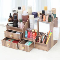 创意大号木制桌上化妆品收纳盒抽屉式带镜子简约抽纸杂物首饰分隔