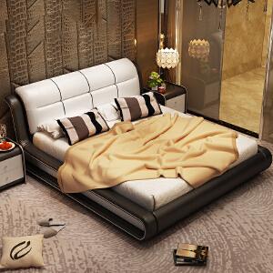 御目 双人床 皮床双人床1.8米真皮床现代简约主卧婚床小户型榻榻米床储物气动软床欧式床大床满额减限时抢礼品卡创意家具