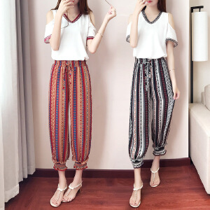 2017夏季新款韩版时尚休闲短袖T恤+雪纺印花灯笼裤两件套装女