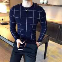 秋冬男装休闲格子针织衫男士韩版个性潮流圆领毛衣青年时尚打底衫