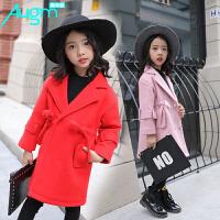 奥戈曼  女童毛呢外套秋冬季韩版儿童中大童女孩中长款时尚修身呢子大衣潮亲子装