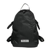 双肩背包潮流学生包潮男生书包大学生高中生女大容量学生书包帆布背包运动户外轻便旅行包潮 黑色 收藏送运费险