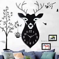 【满200减100】御目 挂钟 北欧创意钟表挂钟客厅家用现代静音简约鹿头装饰艺术时钟个性挂表