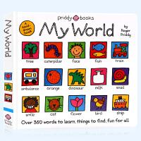 我的单词小天地英文原版绘本 My World 儿童英语早教启蒙纸板书 亲子互动游戏绘本 身体水果动物衣服共350幅手绘图