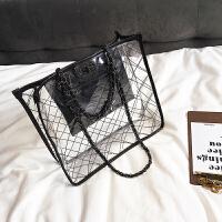 链条大包包女新款透明沙滩包个性手提包时尚购物袋单肩斜跨包
