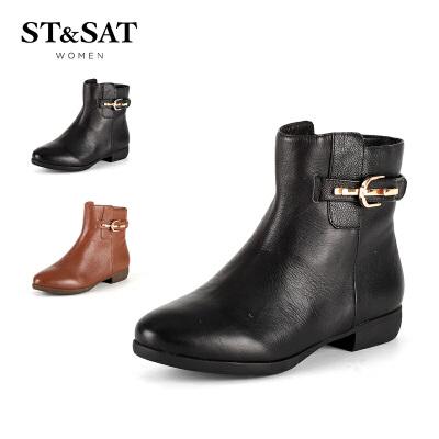 星期六(ST&SAT) 荔枝纹牛皮粗跟尖头休闲短靴SS54112015