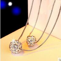 双层925银项链女 简约 时尚短款 水晶球吊坠韩版锁骨链银饰品