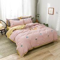 【每满100减50】刺绣全棉水洗棉四件套北欧风舍纯棉床上床单被套床单床品套件1.5/1.8m/2.0床