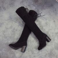 【】长筒靴粗跟女鞋高跟过膝靴水台显瘦弹力靴系带套筒女靴 黑色绒面 35