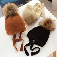 儿童毛线帽秋冬天宝宝毛球护耳帽婴儿针织套头帽