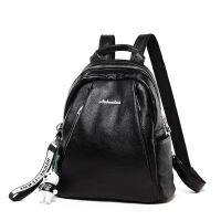 时尚潮流防盗包女包2018新款包包双肩包女商务旅行背包女士书包 黑色送小熊挂件