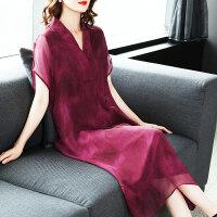 真丝连衣裙女夏2018新款女装名媛气质时尚中长款酒红色桑蚕丝裙子ZS02 酒红色
