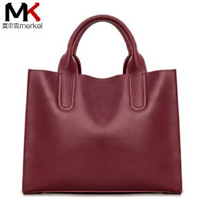 莫尔克(MERKEL)2018新款牛皮女包时尚欧美女包简约大包女士手提单肩斜挎包杀手包