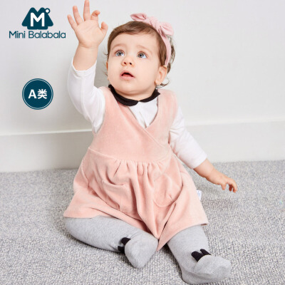 迷你巴拉巴拉婴儿连衣裙2018秋新款童装女宝宝棉质无袖褶皱裙裙子