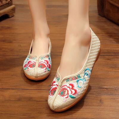 平跟女绣花鞋老北京布鞋女广场舞民族风浅口中老年亚麻布鞋妈妈鞋