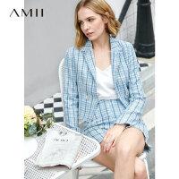 【预估价174元】Amii极简小香风时尚套装女2019秋季新款格子翻领西装高腰休闲短裤