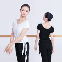 舞蹈服女形体芭蕾练功服健美操上衣 黑色短袖学生训练服白t恤