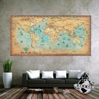 长款大航海超大世界地图装饰画复古海报酒吧客厅餐厅沙发背景墙 140x280cm 单幅