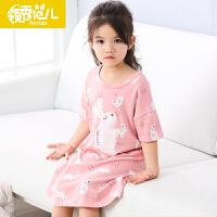 领秀范儿女童睡衣儿童睡裙短袖夏季纯棉女孩睡衣长袖公主薄款子睡裙母女