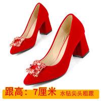 新款秀禾鞋婚鞋女小码水钻红色粗跟高跟尖头新娘鞋中跟孕妇女单鞋 红色 7厘米跟高168-6